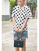 baratos Vestidos Femininos-Mulheres Camisa Social - Para Noite Poá Algodão Colarinho de Camisa Solto