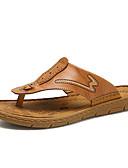 abordables Panties-Hombre Cuero Verano Confort Zapatillas y flip-flops Negro / Marrón