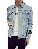 זול גברים-ג'קטים ומעילים-עכשווי צווארון חולצה ז'קטים מג'ינס - בגדי ריקוד גברים / שרוול ארוך