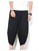 ieftine Maieu & Tricouri Bărbați-Bărbați Chinoiserie / Exagerat Mărime Plus Size Bumbac / In Harem Pantaloni - Mată Negru & Roșu, Franjuri Negru