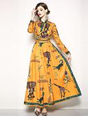 cheap Women's Dresses-Women's Holiday / Going out Boho / Street chic Maxi Swing Dress - Floral Print Stand Spring Orange XL XXL XXXL