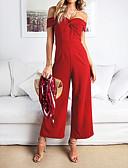 tanie Kombinezony damskie-Damskie Codzienny / Wyjściowe Podstawowy / Moda miejska Bez ramiączek Czerwony Spodnie szerokie nogawki Szczupła Kombinezon, Solidne kolory Odkryte plecy M L XL Bez rękawów Na każdy sezon