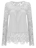 baratos Saias Femininas-blusa feminina - decote redondo em cor sólida
