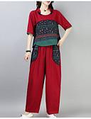 povoljno Ženski dvodijelni kostimi-Žene Veći konfekcijski brojevi Puff rukav  Pamuk Aktivan Set - Jednobojni, Drapirano Hlače