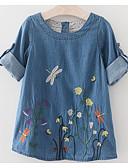 Χαμηλού Κόστους Φορέματα για κορίτσια-Παιδιά Κοριτσίστικα Βασικό Καθημερινά Μονόχρωμο Κεντητό Κοντομάνικο Πάνω από το Γόνατο Φόρεμα Θαλασσί