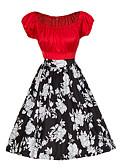 billige Vintage-dronning-Dame Vintage Bomuld Tynd A-linje Kjole - Blomstret, Trykt mønster Over knæet Bateau-hals