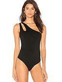 cheap Bodysuit-women's going out bodysuit - solid colored boat neck
