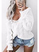 preiswerte Damen Pullover-Damen Ausgehen Langarm Lose Pullover - Solide Tiefes V