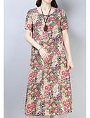 cheap Casual Dresses-Women's Daily Basic Petal Sleeves Shift Dress - Floral Summer Blue Red L XL XXL