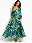 baratos Vestidos Longos-Mulheres Reto / Bainha Vestido Floral / Geométrica Longo