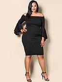 cheap Mother of the Bride Dresses-Women's Daily Slim Sheath Dress Boat Neck Black XL XXL XXXL