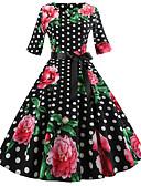 povoljno Vintage kraljica-Žene Vintage Swing kroj Haljina - Print, Cvjetni print Do koljena