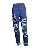 ieftine Pantaloni de Damă-Pentru femei Activ Mărime Plus Size Bumbac Blugi Pantaloni - Franjuri, Mată Negru & Roșu