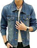 זול גברים-ג'קטים ומעילים-אחיד וינטאג' ז'קטים מג'ינס - בגדי ריקוד גברים, פרנזים כותנה / פשתן / שרוול ארוך