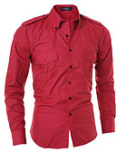 cheap Men's Shirts-Men's Work Business / Basic Shirt - Solid Colored / Long Sleeve