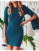 זול שמלות מודפסות-מעל הברך אחיד - שמלה צינור / נדן בסיסי / סגנון רחוב בגדי ריקוד נשים