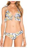 olcso Női kétrészes kosztümök-Női Bikini - Fűzős, Virágos Merész