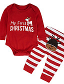 cheap Baby Girls' Clothing Sets-Baby Girls' Casual / Active Christmas / Party / Holiday Striped / Print Print Long Sleeve Regular Cotton / Acrylic Clothing Set Red / Toddler