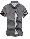 preiswerte Herrenhemden-Herrn Solide / Geometrisch - Grundlegend Hemd, Stehkragen Marineblau XXXXL / Kurzarm