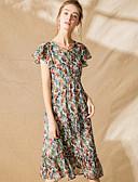 povoljno Ženske haljine-Žene Ulični šik Šifon Haljina - Print, Cvjetni print Midi