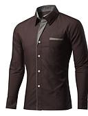 baratos Camisas Masculinas-Homens Camisa Social - Trabalho Sólido / Manga Longa