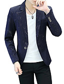 cheap Men's Blazers & Suits-Men's Party / Daily Spring &  Fall Regular Blazer, Striped Peaked Lapel Long Sleeve Cotton / Polyester Black / Navy Blue / Purple XL / XXL / XXXL