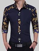 abordables Chemises pour Homme-Chemise Homme, Bloc de Couleur Imprimé Travail Rétro Vintage / Basique / Chic de Rue Marine L / Manches Longues / Eté