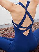 זול שמלות נשים-בגדי ריקוד נשים מכנסי יוגה / יוגה למעלה - שחור, כחול ספורט צבע אחיד מדים בסטים בלט, פילאטיס, כושר וספורט לבוש אקטיבי דחיסה, מתיחה גמישות גבוהה