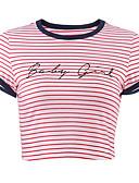 cheap Women's T-shirts-Women's Cotton T-shirt - Striped / Letter
