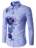 tanie Męskie koszule-Koszula Męskie Bawełna Kwiaty / Długi rękaw