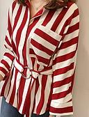 זול טישרט-פסים צווארון חולצה מידות גדולות כותנה, חולצה - בגדי ריקוד נשים