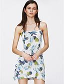 זול שמלות נשים-אננס מעל הברך דפוס, פירות - שמלה גזרת A בסיסי בגדי ריקוד נשים