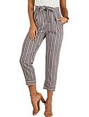 ieftine Pantaloni de Damă-Pentru femei Bumbac Harem / Pantaloni Chinos Pantaloni - Dungi Talie Înaltă Gri