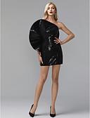 preiswerte Brautjungfernkleider-Eng anliegend Ein-Schulter Kurz / Mini Pailletten Promi-Stil Cocktailparty / Formeller Abend Kleid mit Paillette durch TS Couture®