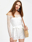 cheap Women's Jumpsuits & Rompers-Women's Cotton Slim Romper - Solid Colored, Lace / Bow Off Shoulder / Spring / Summer