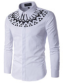 povoljno Muške košulje-Majica Muškarci - Osnovni Dnevno Pamuk Geometrijski oblici Print / Dugih rukava