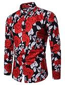 ieftine Tricou Bărbați-Bărbați Cămașă Bumbac Floral / Manșon Lung
