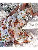 זול שמלות מקסי-צווארון V מותניים גבוהים מקסי שמלה צינור רזה כותנה בגדי ריקוד נשים
