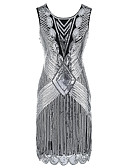 billige Kjoler til nytårsaften-Store Gatsby 1920'erne Glitrende De brølende 20'ere Kostume Dame Kjoler Flapper Dress Cocktail Kjole Palliet-belagt Sort / Rød / Sort+Gylden / Sort+Sølv Vintage Cosplay Fest Skolebal Uden ærmer Kolde