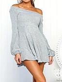 ieftine Sweater Dresses-Pentru femei Ieșire Zvelt Linie A Rochie V Adânc Sub Genunchi / Toamnă