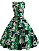 baratos Vestidos Vintage-Mulheres Vintage Algodão Delgado Calças - Animal Verde / Para Noite