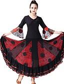 זול תחרה רומטנית-ריקודים סלוניים תלבושות בגדי ריקוד נשים הצגה טול סלסולים / מפרק מפוצל שרוול 4\3 טבעי חצאיות / עליון