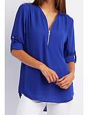 economico Camicie da donna-Blusa Per donna Tinta unita A V - Cotone