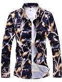 お買い得  メンズシャツ-男性用 プリント プラスサイズ シャツ ベーシック スリム フラワー コットン ネイビーブルー XXXXL / 長袖