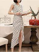 tanie Print Dresses-Damskie Podstawowy / Moda miejska Bawełna Szczupła Spodnie - Groszki Rozcięcie Wysoka talia Biały / Asymetryczna / Wyjściowe