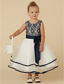 cheap Flower Girl Dresses-A-Line Tea Length Flower Girl Dress - Lace / Tulle Sleeveless Scoop Neck with Bow(s) / Sash / Ribbon by LAN TING BRIDE®