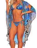cheap Cover Ups-Women's Basic Boho Halter Neck Blue Tie Side Multi-piece Swimwear - Color Block Lace up M L XL Blue / Sexy