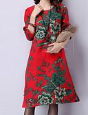 tanie Damskie spodnie-Damskie Podstawowy / Wzornictwo chińskie Szczupła Spodnie - Kwiaty Wysoka talia Czerwony
