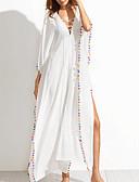 preiswerte Damen Kleider-Damen Festtage / Ausgehen / Strand Boho Lose / Hülle Kleid Solide Maxi V-Ausschnitt Hohe Hüfthöhe Weiß / Sommer / Mit Schleife / überdimensional