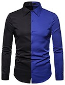 cheap Men's Shirts-Men's Street chic / Exaggerated Shirt - Color Block Black & Red / Black & White, Patchwork